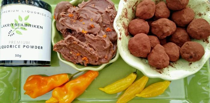 choklad, lakrits, chili