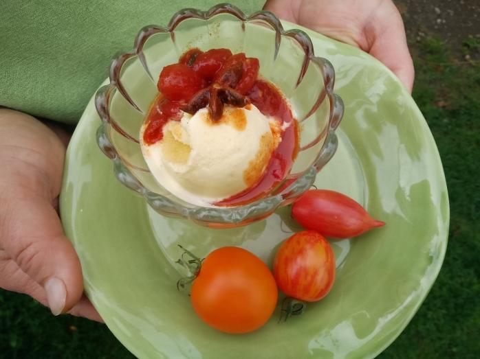 karamelliserade tomater med glass